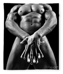 Beautiful Man Nude Or Naked With Great Sexy Body. Image In Black And White Fleece Blanket