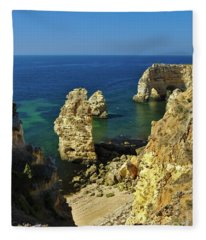 Beautiful Marinha Beach From The Cliffs Fleece Blanket