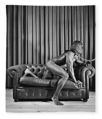 Beautiful Naked Man With Mask Posing On A Sofa Fleece Blanket