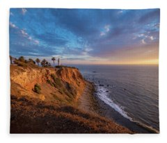 Beautiful Point Vicente Lighthouse At Sunset Fleece Blanket