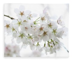 Beautiful White Cherry Blossoms Fleece Blanket