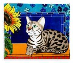 Beauty In Bloom - Savannah Cat Painting Fleece Blanket
