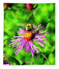 Bee On Pink Flower Fleece Blanket
