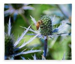 Bee's Got The Blues Fleece Blanket