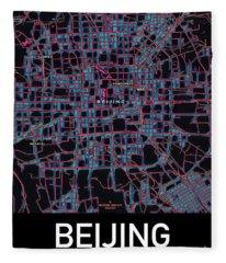 Beijing City Map Fleece Blanket