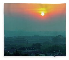 Beijing Forbidden City Sunset Panorama Fleece Blanket