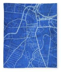 Belfast Northern Ireland City Street Map Blueprints Fleece Blanket