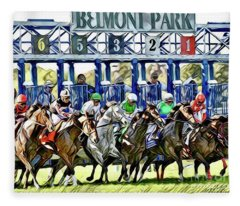 Belmont Park Starting Gate 1 Fleece Blanket