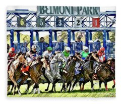 Belmont Park Starting Gate 1 Fleece Blanket