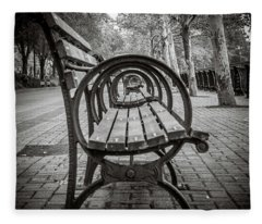 Fleece Blanket featuring the photograph Bench Circles by Steve Stanger