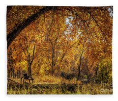 Bench With Autumn Leaves  Fleece Blanket