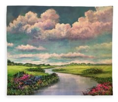 Beneath The Clouds Of Paradise Fleece Blanket