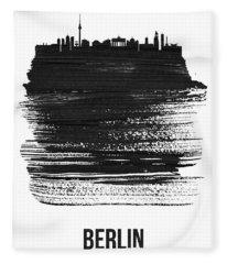 Berlin Skyline Brush Stroke Black Fleece Blanket