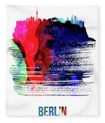 Berlin Skyline Brush Stroke Watercolor   Fleece Blanket