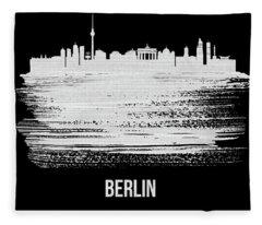 Berlin  Skyline Brush Stroke White Fleece Blanket