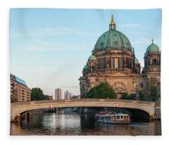 Berliner Dom And River Spree In Berlin Fleece Blanket
