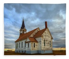 Bethel Scandinavian Lutheran Church At Sunset Fleece Blanket