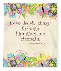 Bible Scripture On Strength Philippians Fleece Blanket