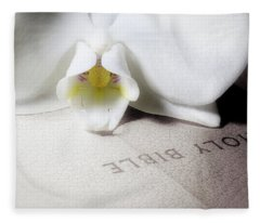 Bible With White Orchid Fleece Blanket