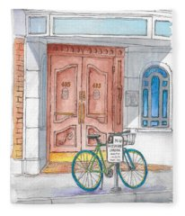 Bicycle And Portal In Beverly Hills, California  Fleece Blanket