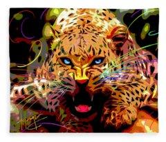 Big Cat Leopard Pop Cat Fleece Blanket