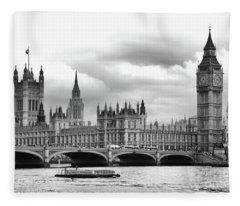 Big Clock In London Fleece Blanket