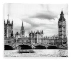 Big Clock In London Soft Fleece Blanket
