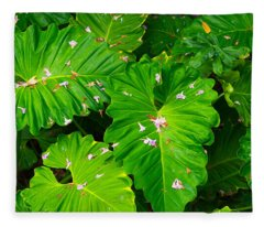 Big Green Leaves Fleece Blanket