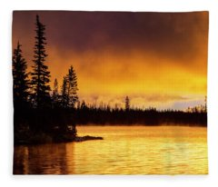 Big Lake Sunrise Fleece Blanket