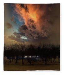 Big Sky Cranes Orchards Michigan Fleece Blanket