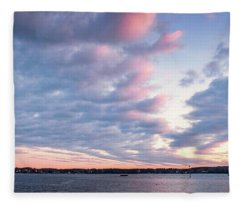 Big Sky Over Portsmouth Light. Fleece Blanket