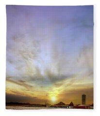 Big Sky Rural Sunset Fleece Blanket