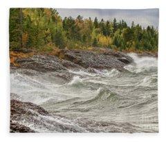 Big Waves In Autumn Fleece Blanket