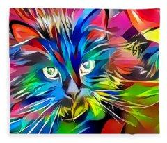 Big Whiskers Cat Fleece Blanket