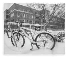 Bike And Msu Library  Fleece Blanket