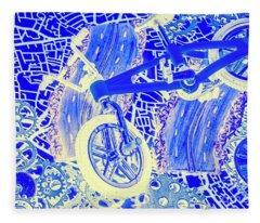 Biking Blue Fleece Blanket