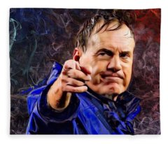 Bill Stephen Belichick Portrait Fleece Blanket
