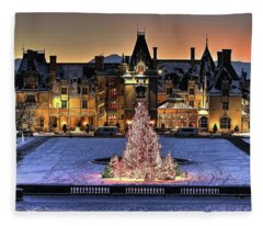 Biltmore Christmas Night All Covered In Snow Fleece Blanket