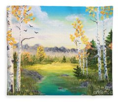 Birches By The Creek Fleece Blanket