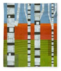 Birches With Olive And Orange 2 Fleece Blanket