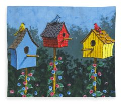Bird House Lane Sketch Fleece Blanket
