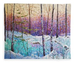 Birds Hill Trail Winter Walk Fleece Blanket