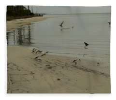 Birds On Beach Fleece Blanket