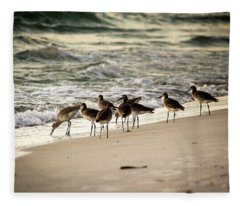 Birds On The Beach Fleece Blanket