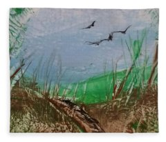 Birds Over Grassland Fleece Blanket
