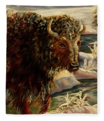 Bison In The Depths Of Winter In Yellowstone National Park Fleece Blanket