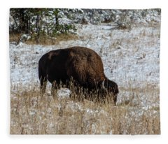 Bison In The Snow Fleece Blanket