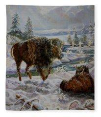 Bison In Yellowstone In The Winter Fleece Blanket