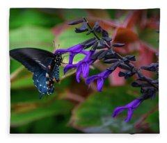 Black And Blue Fleece Blanket