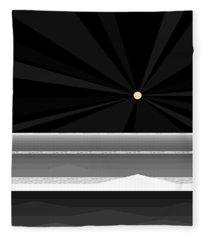 Black And White Abstract Sea Fleece Blanket